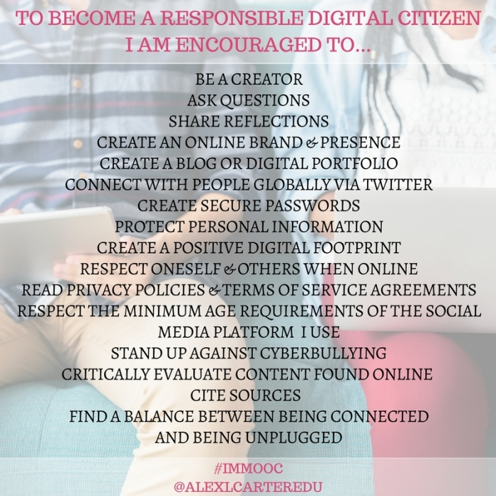 TO BECOME A RESPONSIBLE DIGITAL CITIZENI AM ENCOURAGED TO...